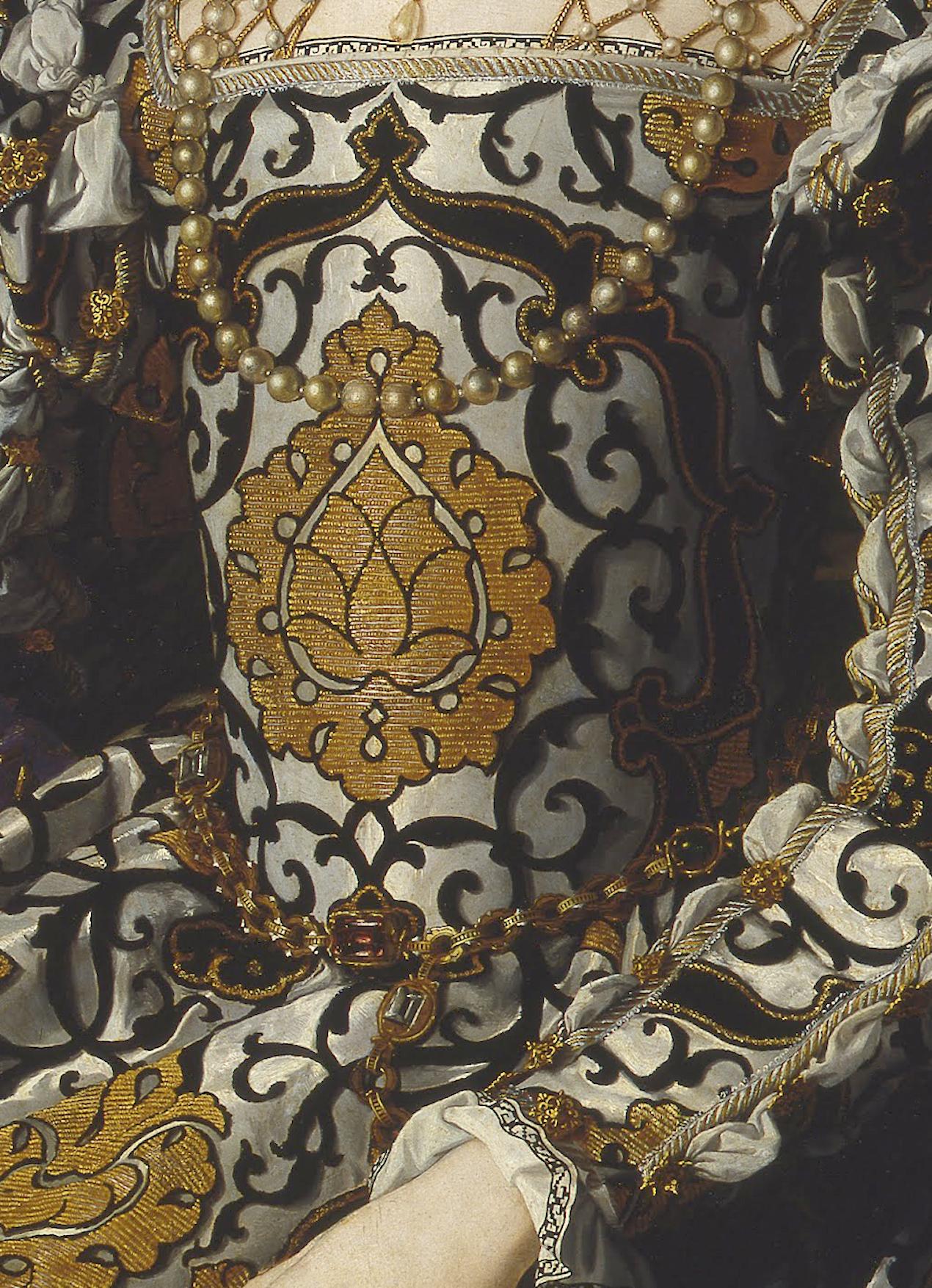 1544 through 1545 Eleonora di Toledo col figlio Giovanni (Galleria degli Uffizi - Firenze, Toscana Italy) fabric and jeweled girdle | Grand Ladies | gogm