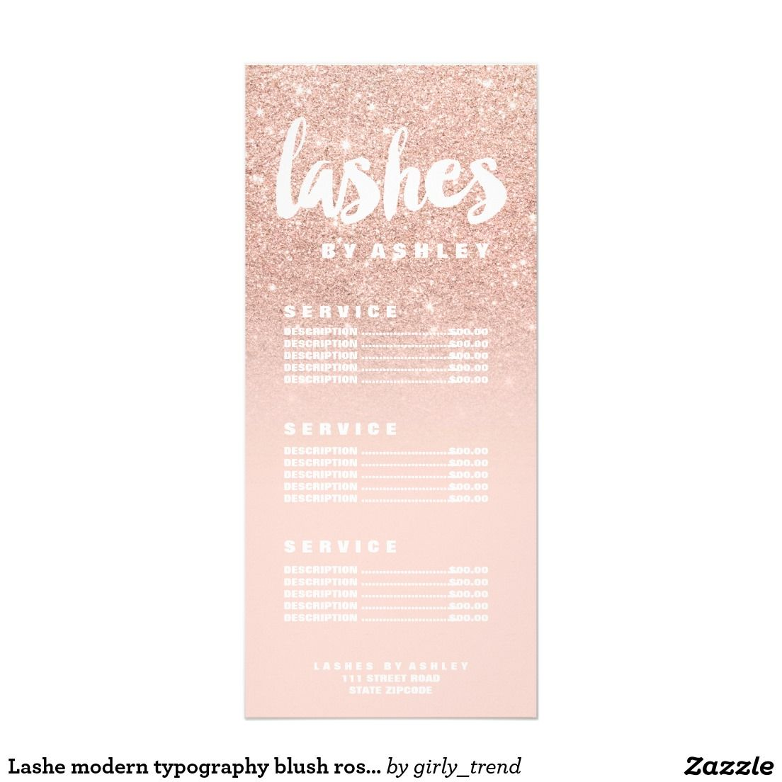 Lashe modern typography blush rose gold price list rack