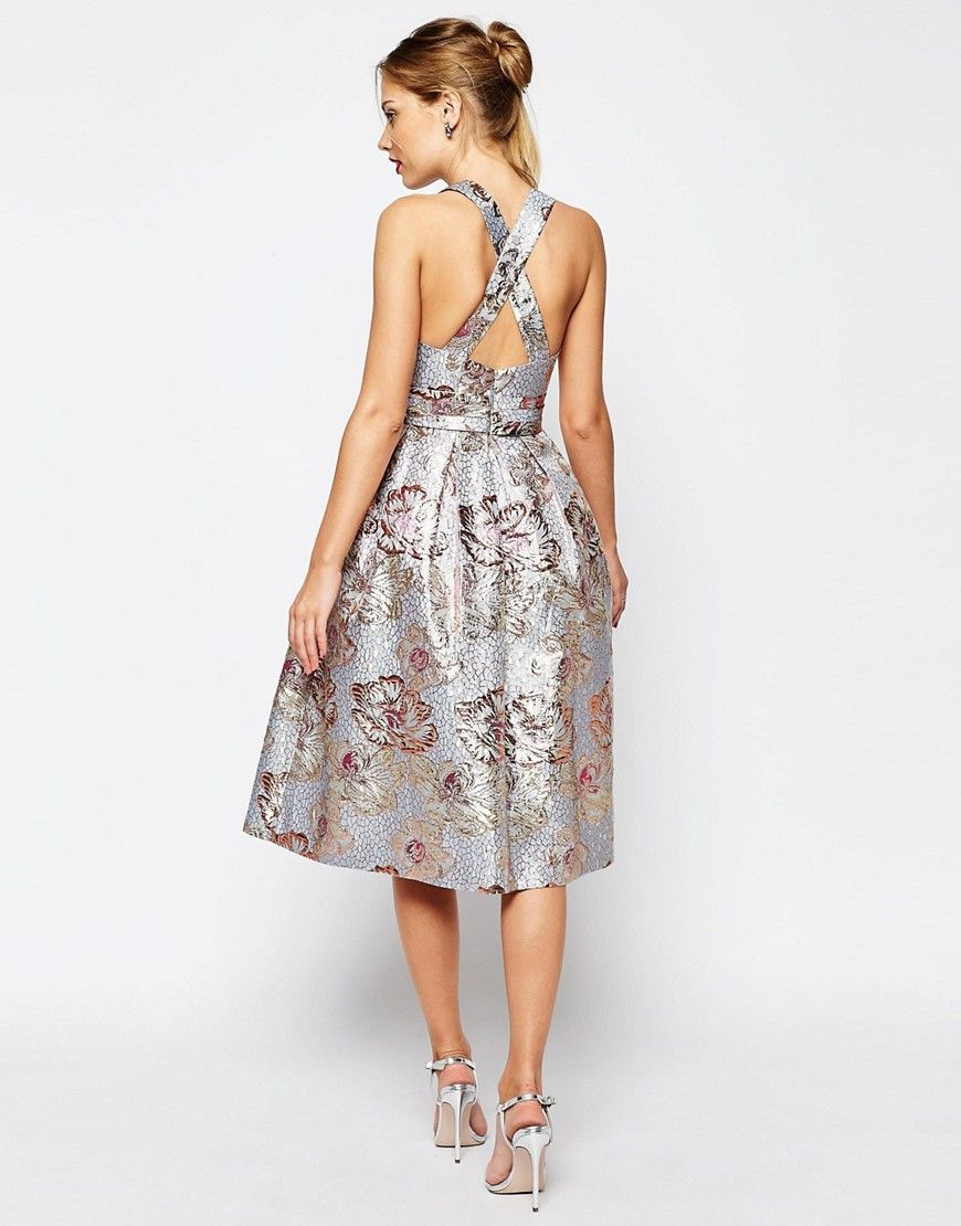 Asos salon metallic jacquard midi prom dress multi one day of