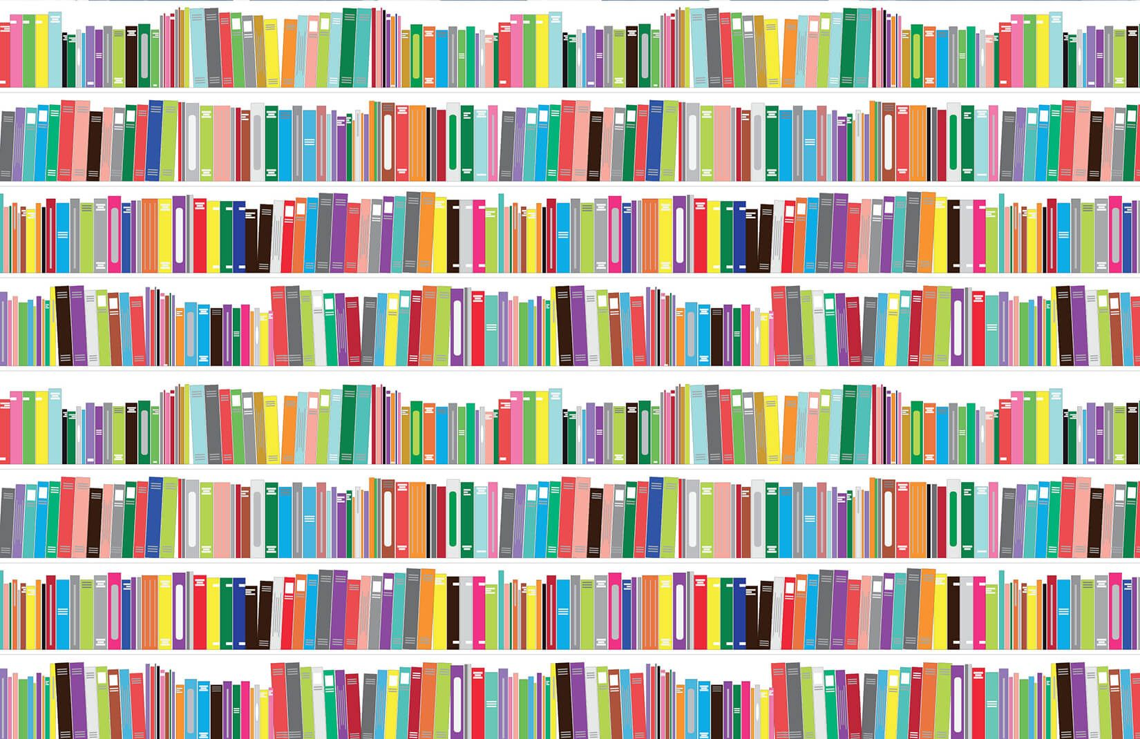 Bright Bookcase Mural in 2019 Bookcase, Feature