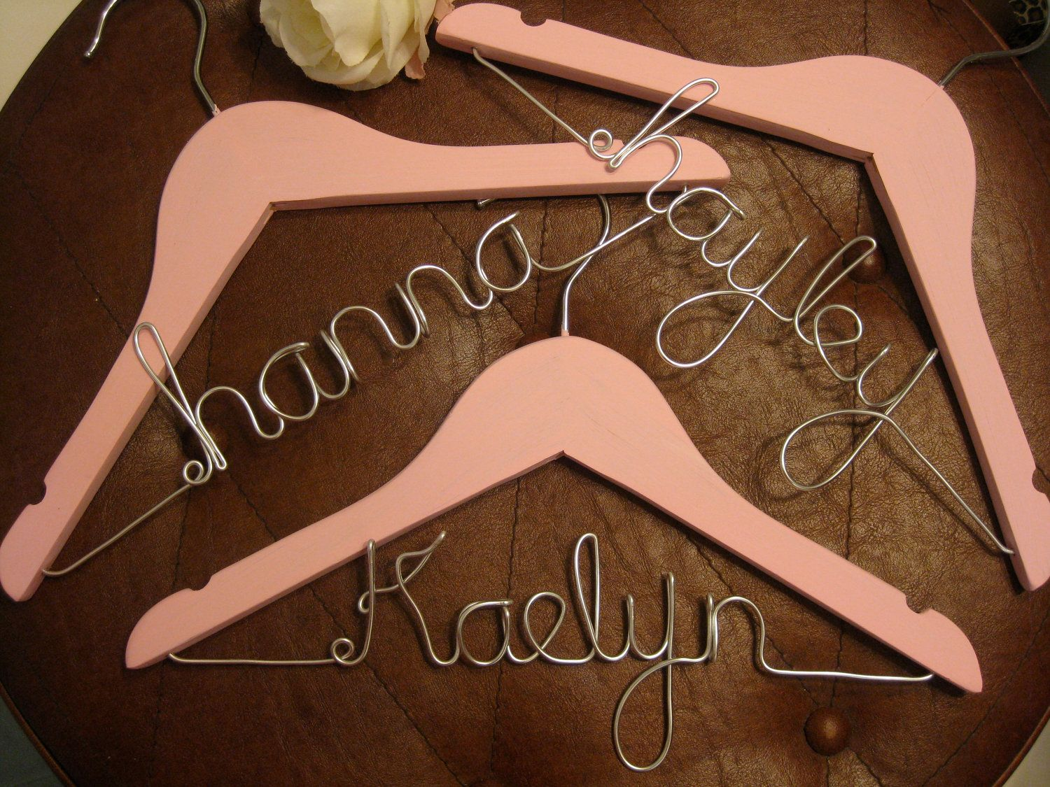 personalized Childrens hanger, kids hanger, flower girl hanger, wedding hanger, wire hanger, bridesmaid, gift. $17.99, via Etsy.