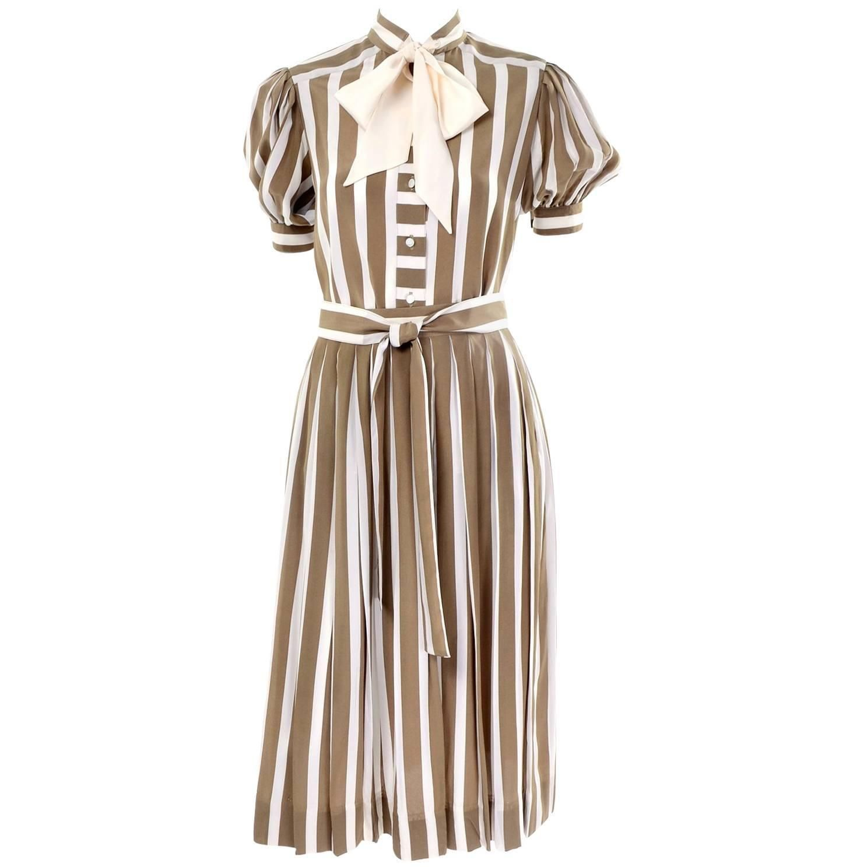 fde62edb29d Albert Nipon Silk Striped Vintage 2 pc. Dress With Bow