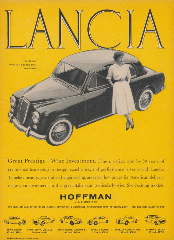 1959 Lancia Vintage Car Ad Print Advertisement Garage Wall Art ...