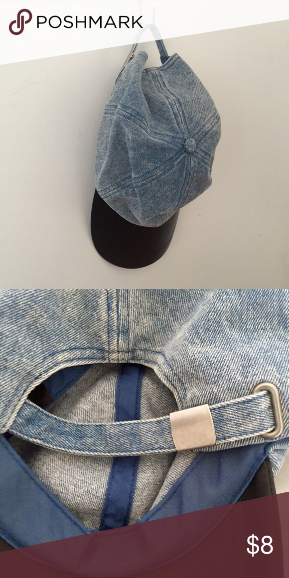 """🐳🌑SALE🌑🐳 acid denim and black leather cap Adjustable back in a light denim fabric and a leather bill. A denim baseball hat featuring a faux leather brim. Adjustable closure. Partially lined. Lightweight. DETAILS: Circumference: approx. 22.5""""; Brim width: approx. 3"""" One size fits most. Shell 1: 69% cotton, 17% polyester, 14% rayon; Shell 2: 100% polyurethane; Shell 3: 85% polyester, 11% cotton, 4% other fibers. Forever 21 Accessories Hats"""