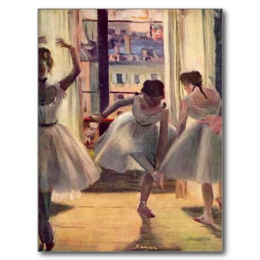 Three dancers in a practice room by Edgar Degas Giclee Fine Art Repro on Canvas