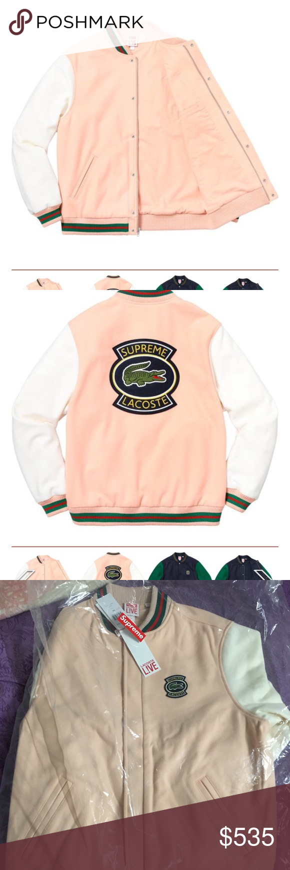 a5617985f573a Supreme x lacoste wool varsity jacket peach M size New item! I have receipt  too! Supreme Jackets   Coats