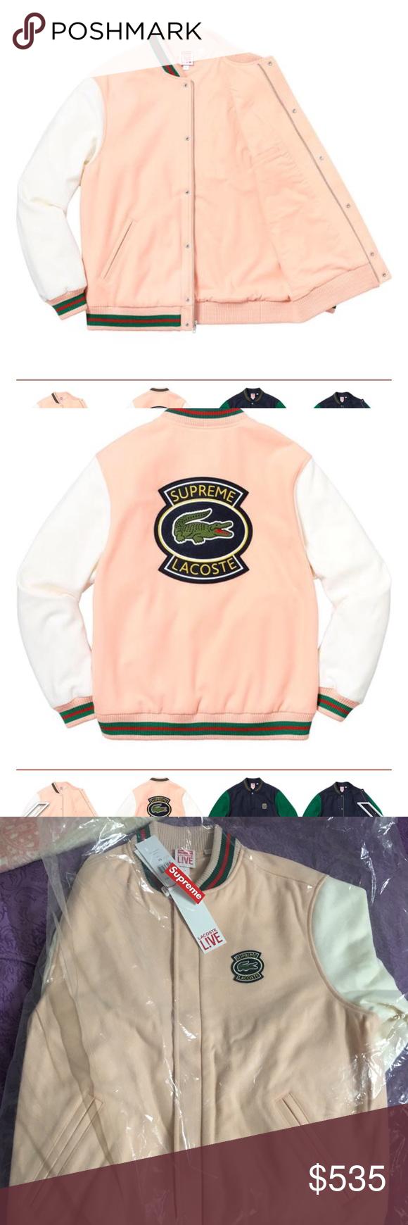 Supreme X Lacoste Wool Varsity Jacket Peach M Size Nwt My Posh