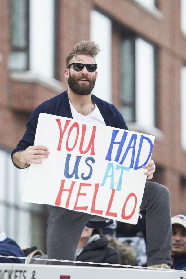 Patriots Victory Parade Julian Edelman Love That Sign