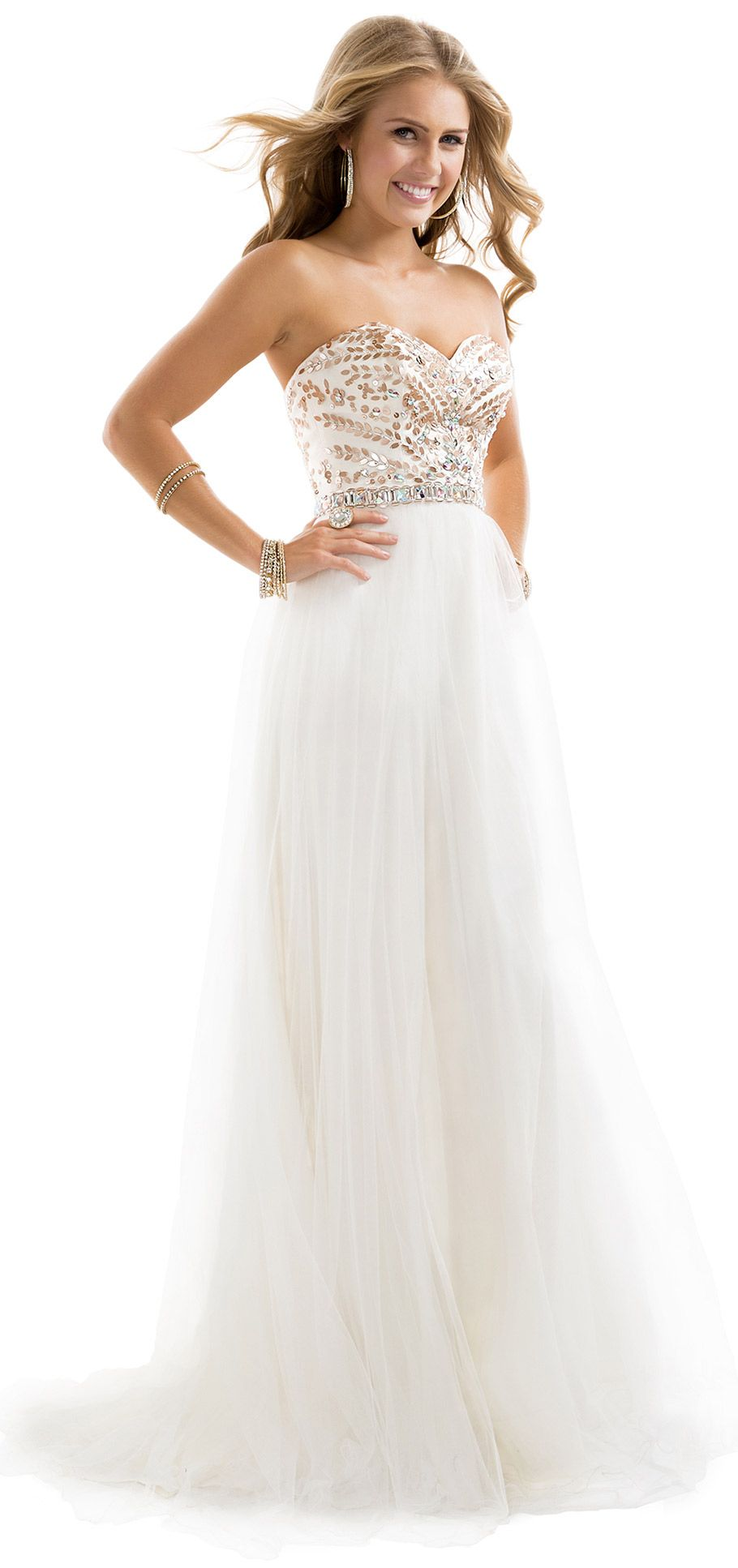 White and rose gold evening dress with sweetheart neckline from Flirt Prom