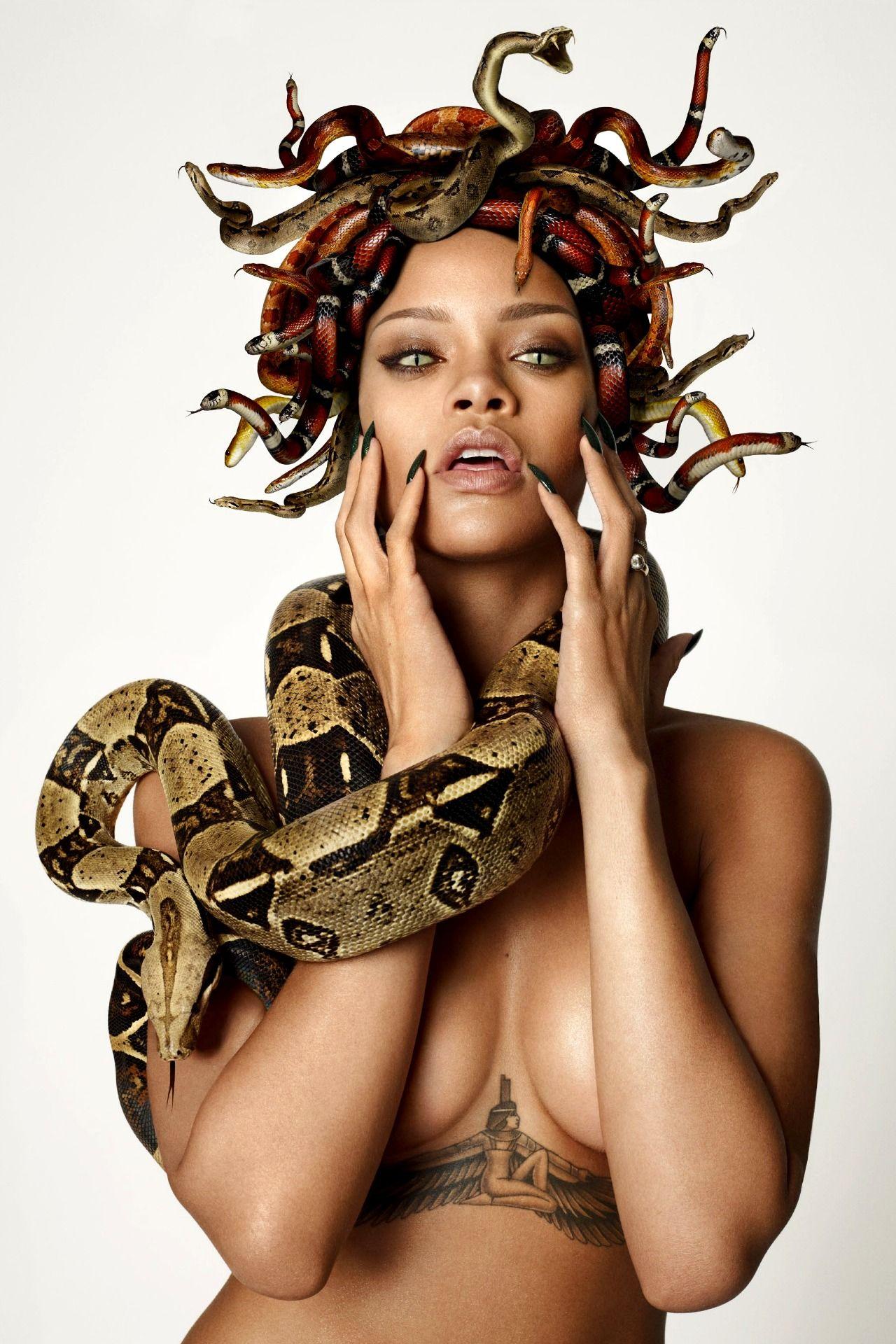 Reptilian Rihanna Poses as Monstrous Medusa for GQ