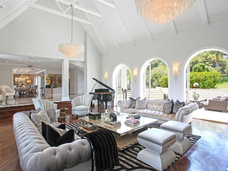 Glamorous living room gray tufted sofas   Impressive ...