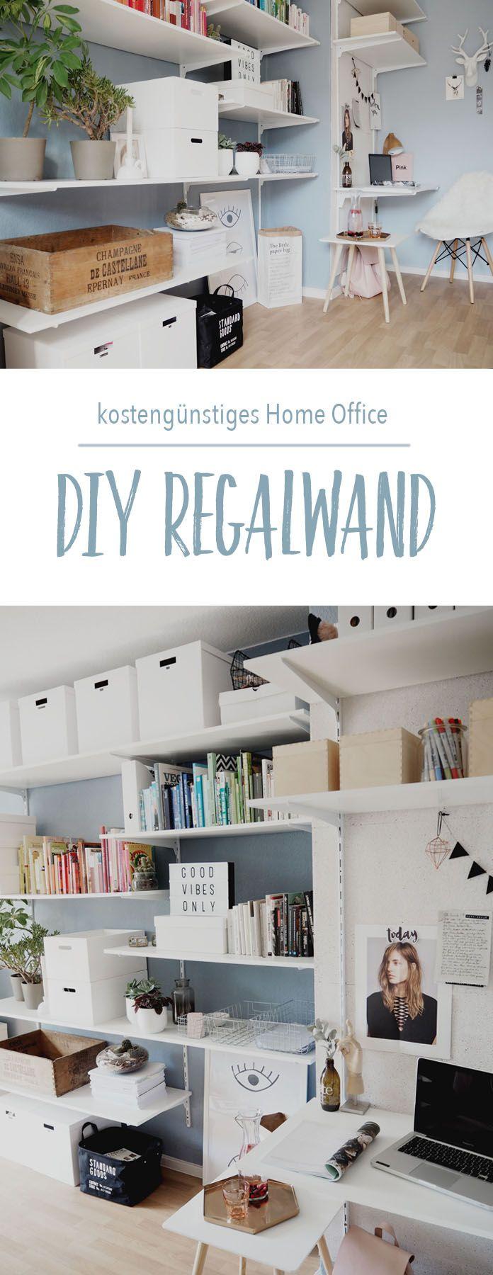 Einfache home-office-design-idee diy regalwand für unter euro  home decor mit diy  pinterest