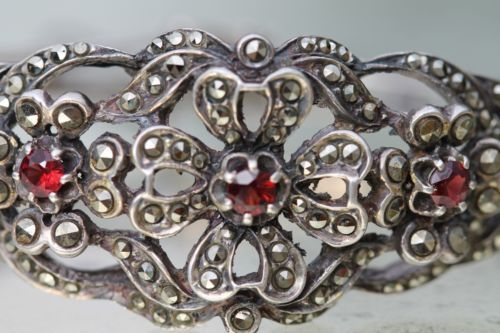 Vintage 925 Sterling Silver Bohemian Garnet Marcasite Hinged Bangle Bracelet | eBay