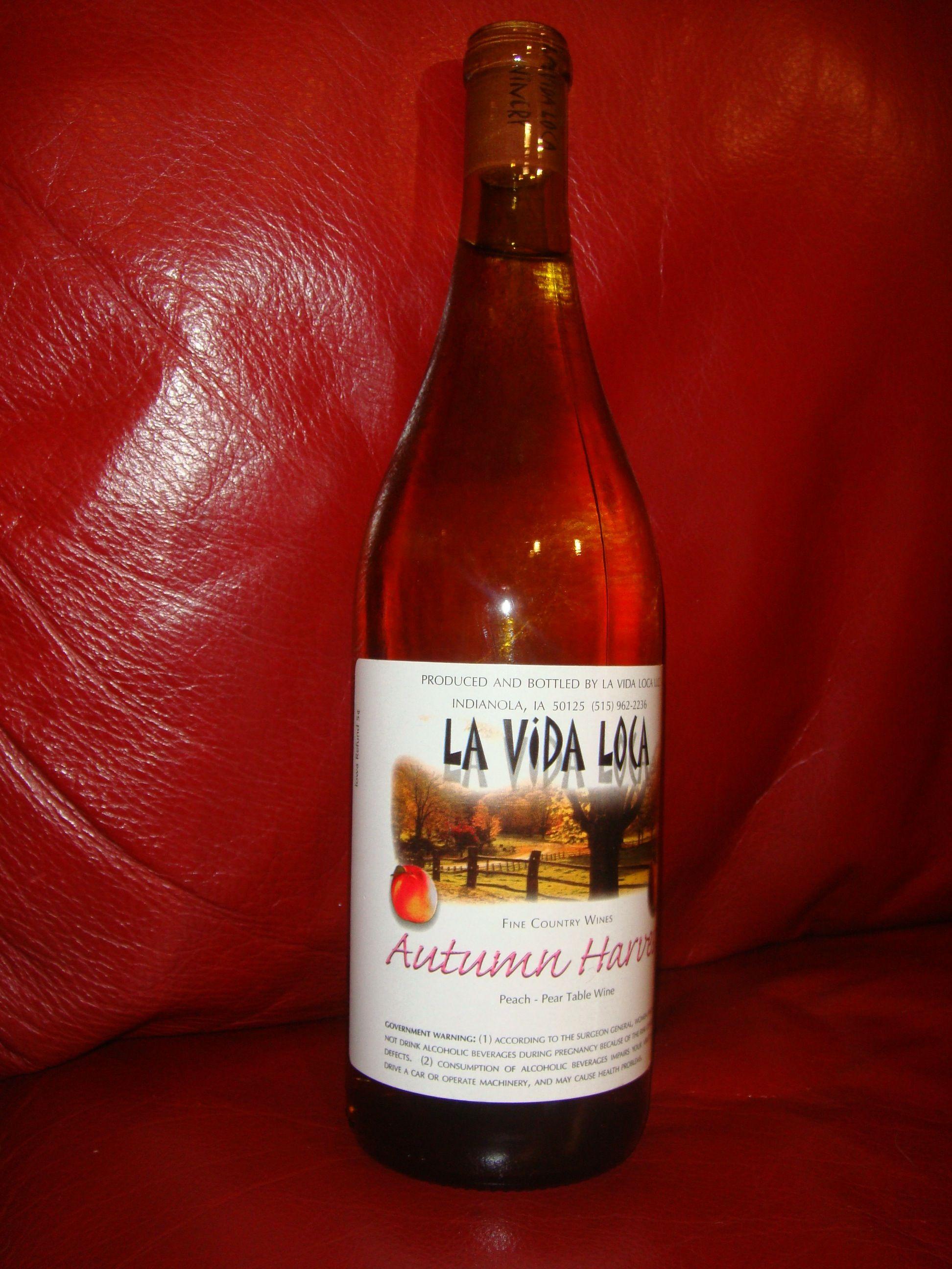 Autumn Harvest Peach Pear Table Wine By La Vida Loca Winery In Indianola Ia Wine Bottle Winery Distillery