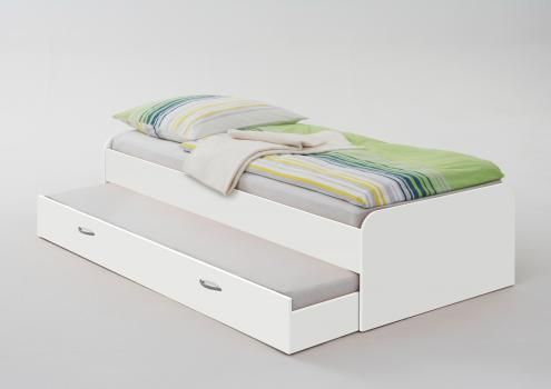 Pedro 4 90x200 Bett Inkl Ausziehbarer Gasteliege Von Fmd Weiss Einzelbett Weiss Kinderbett Weiss Bett Ideen