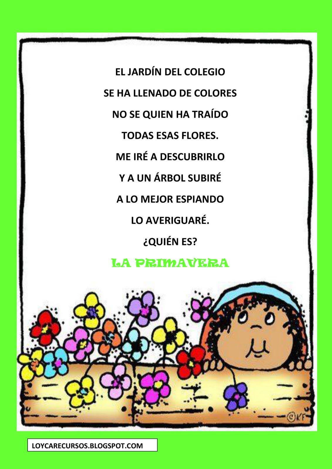 Recursos De Educacion Infantil Poesías De La Primavera Poesia De La Primavera Poesía Para Niños Educacion Infantil