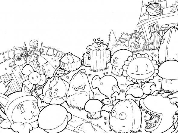 Plants Vs Zombies Hard Coloring Pages For Kids Plantas Contra
