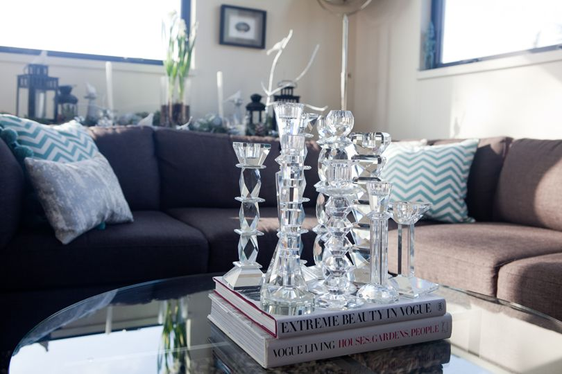 crystal candle sticks cluster collection grouping coffee table vignette
