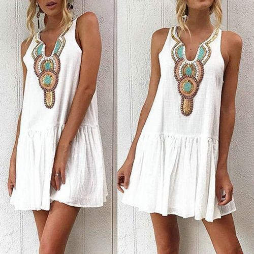 Women Sleeveless Loose Fit Short Mini Dress Tank Top Vest Beach Holiday Sundress
