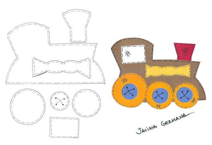 Tren para foami o cartulina. Molde. Kids craft. Train. Template ...