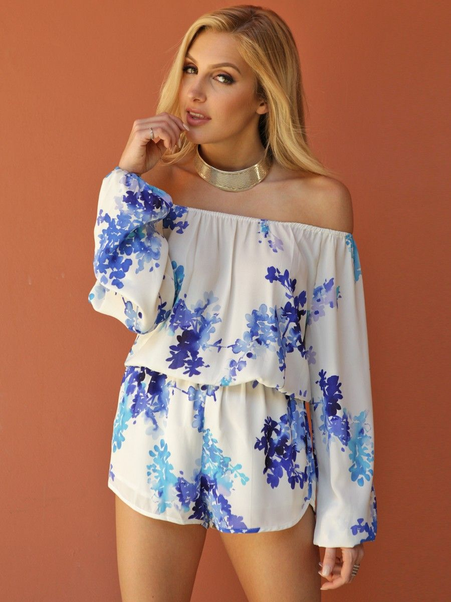 518dde9a1afe Olivaceous Floral Off The Shoulder Romper In Creme Blue