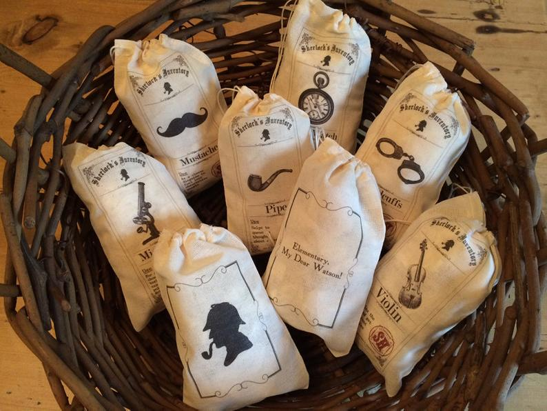 8 Sherlock Holmes Gift Favor Bags. Set of 8 Fun Holmes Watson mystery collection 4×6 5×7 6×8 7×9 7×11 Drawstring Party Escape Party