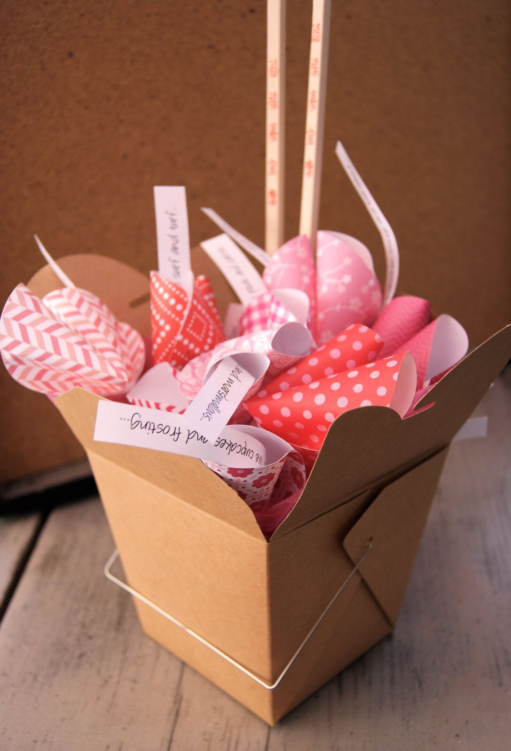 Personalized Paper Origami Fortune Cookies in Takeout Box and ...