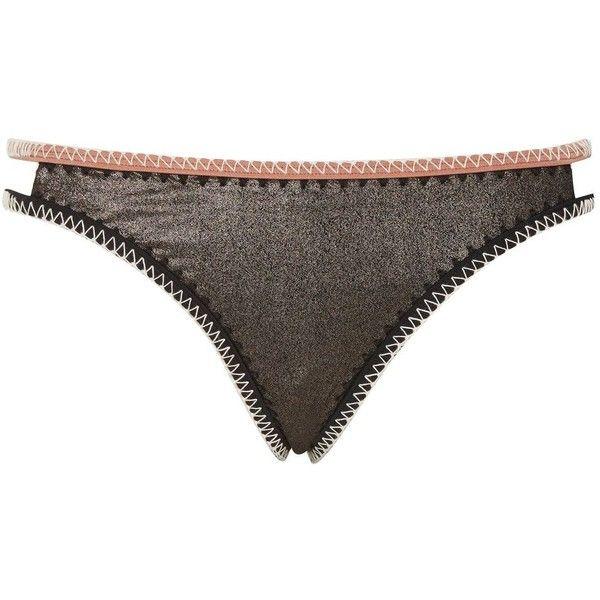 73e9eb322f7 Topshop Metallic Low Rise Bikini Bottoms (269.620 IDR) ❤ liked on Polyvore  featuring swimwear