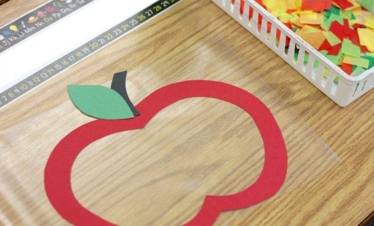 Apfel basteln mit papier herbst apfel basteln basteln for Projekte im kindergarten herbst