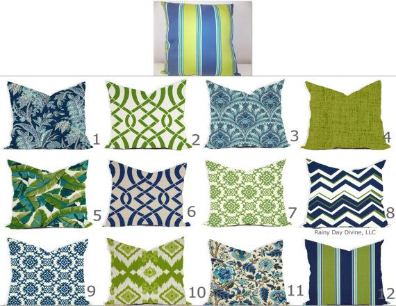 Outdoor Pillows or Indoor Custom Cover Navy Blue Green Lime with #1: c6d80c227e f5caca92dd784a