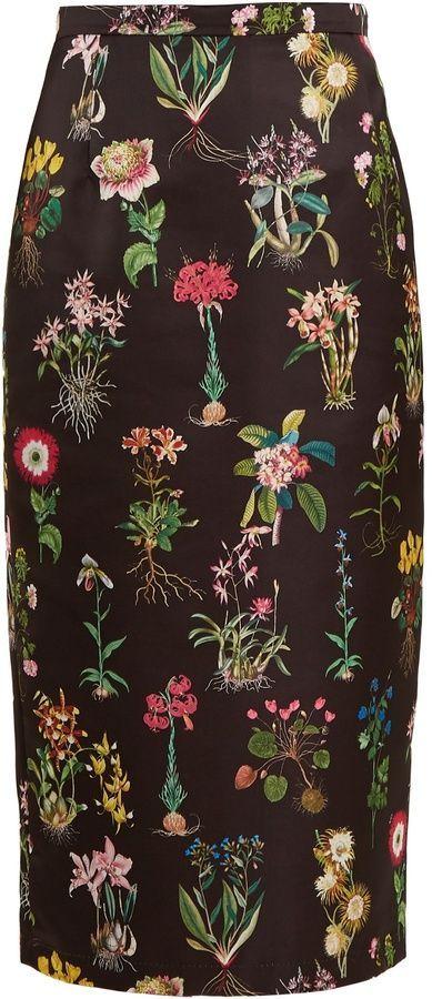 c60b645055db61 NO. 21 Botanical-print duchess-satin pencil skirt | aa special to ...