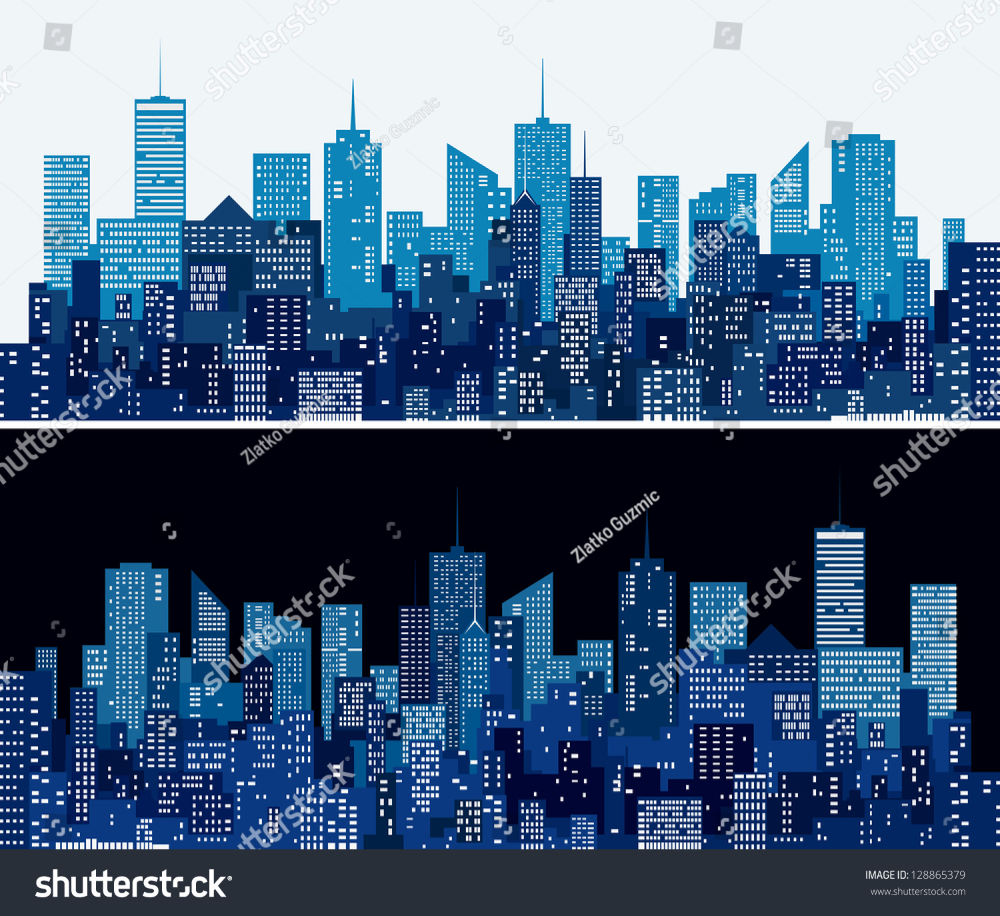 City Skylines Two Blue Versions Stock Vector Royalty Free 128865379 Skyline City Skyline Night City Skyline