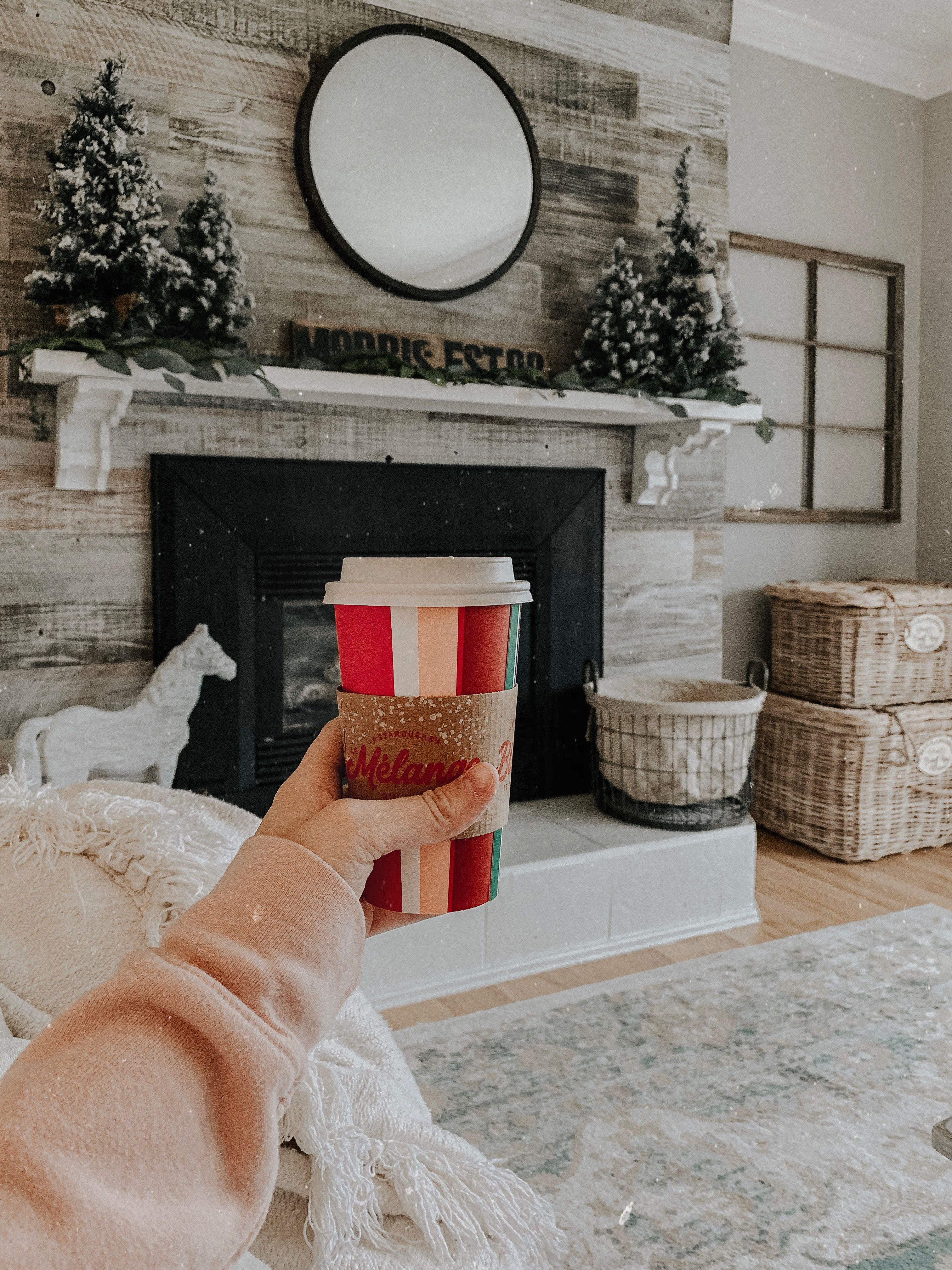 Christmas Mantle Vibes Blogger Decor House Styles Wood Mantle