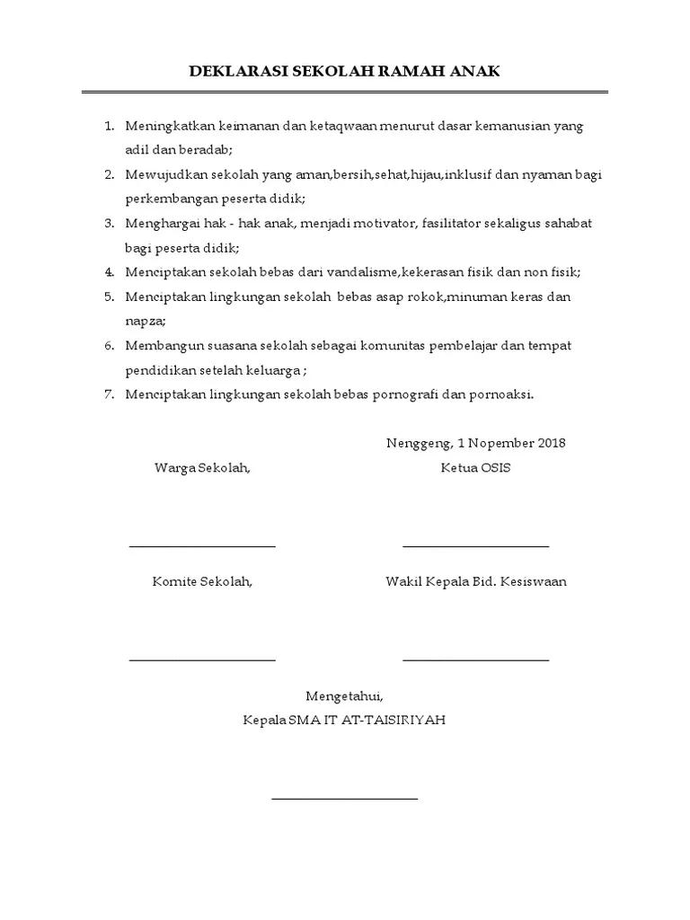 Contoh Teks Deklarasi Sekolah Ramah Anak : contoh, deklarasi, sekolah, ramah, Contoh, Naskah, Deklarasi, Sekolah, Ramah, Penelusuran, Google, Sekolah,, Pendidikan,