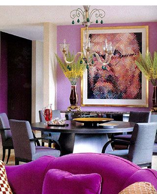 Dining Room Accent Wall In Fuchsia Adjacent Entry Hall Deep Purple And Large Chair Magenta