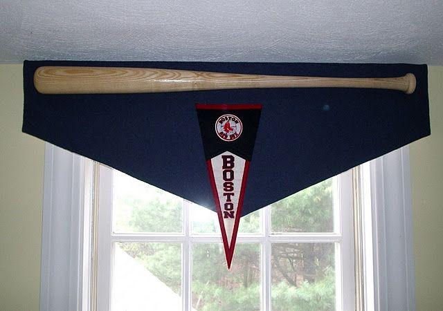 Red Sox Valance With Baseball Bat. Pretty Cool Idea!