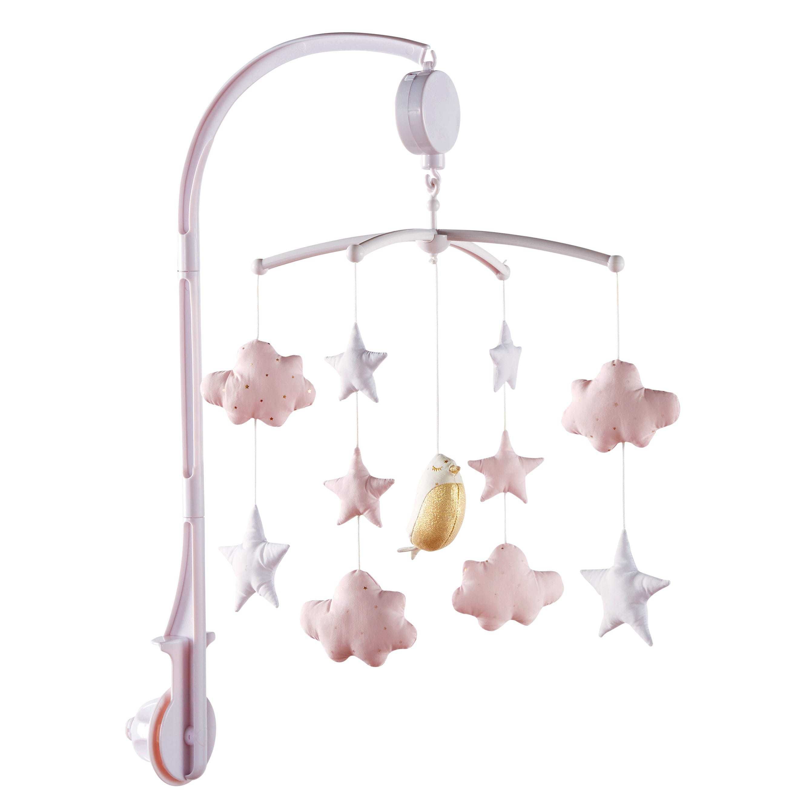 ba49a6b96 Móvil musical para bebé blanco y rosa BIRD SONG