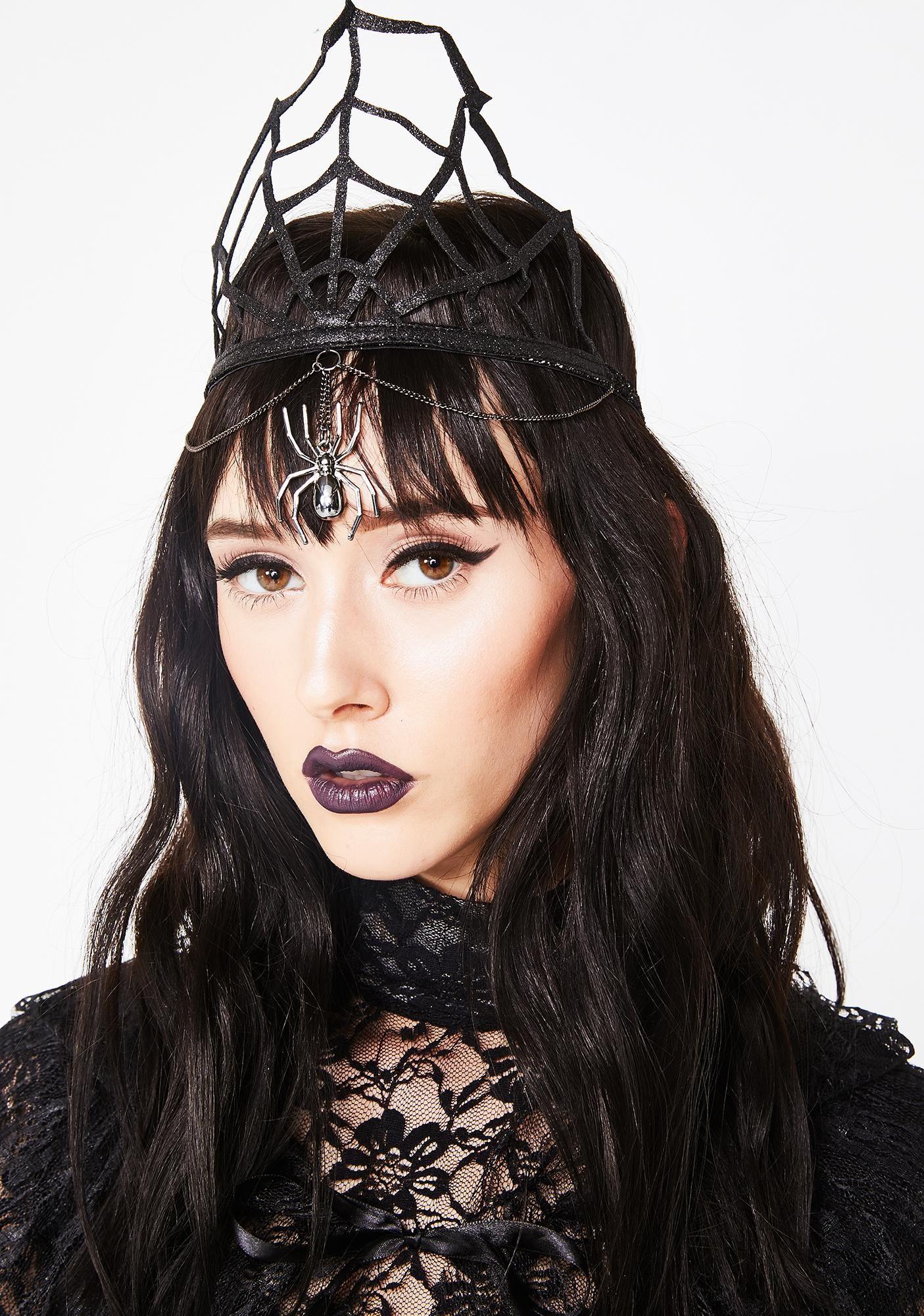 Black Widow Queen Glitter Crown Halloween costume