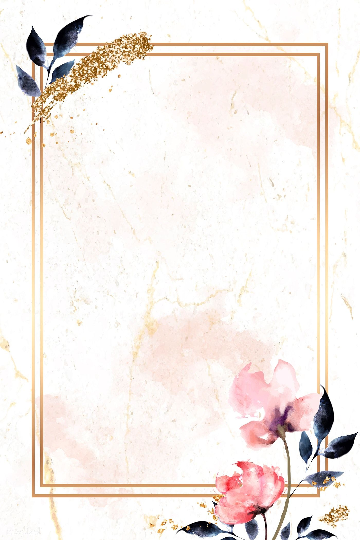 Download Premium Vector Of Golden Rectangle With Floral Frame Vector 936995 Flower Background Wallpaper Framed Wallpaper Flower Backgrounds