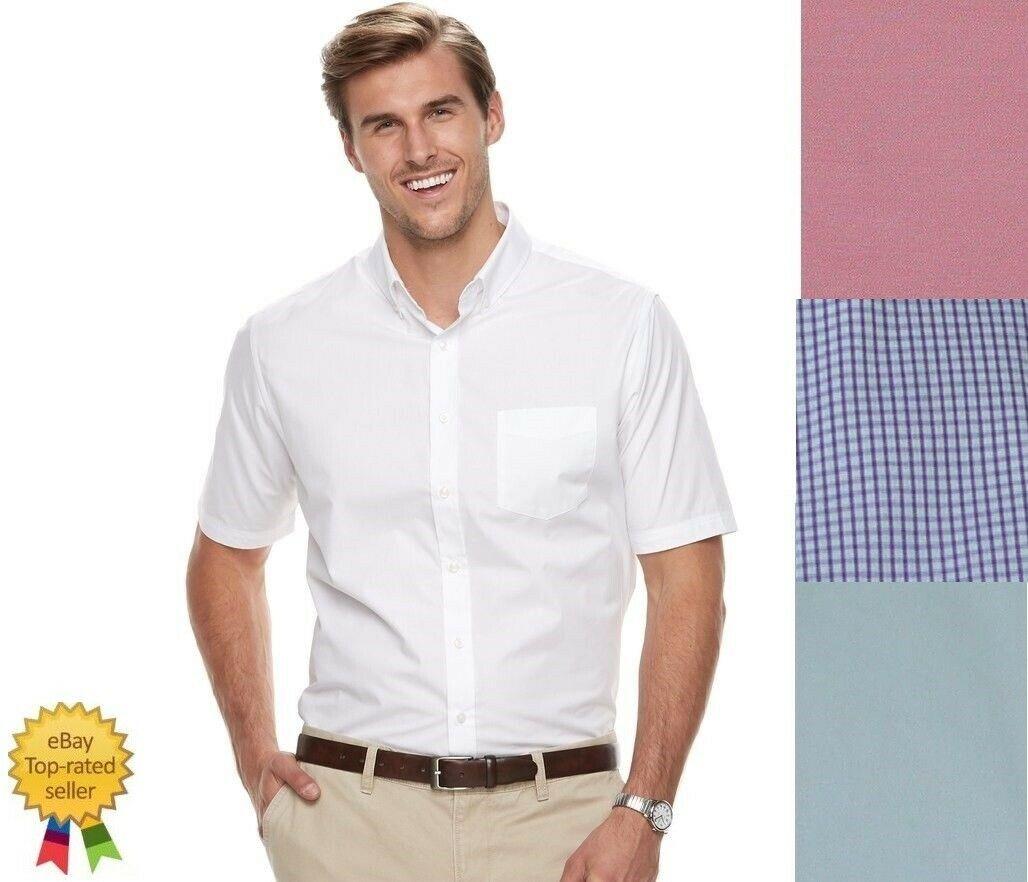Men/'s Croft /& Barrow Classic-Fit Easy Care Button Down Collar Dress White Shirt