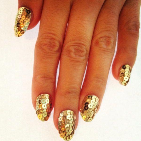 Sequins 3D Nail Art, 3D nail art is a technique for decorating nails that creates three dimensional designs. http://hative.com/cool-3d-nail-art/