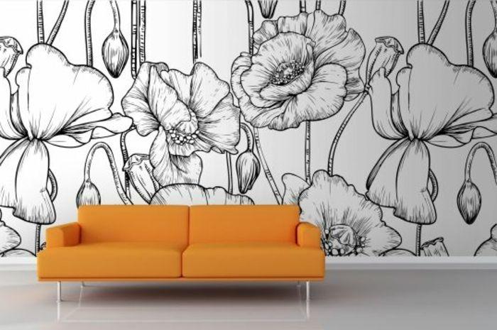 le papier peint noir et blanc est toujours un singe d 39 l gance deco papier peint canap. Black Bedroom Furniture Sets. Home Design Ideas