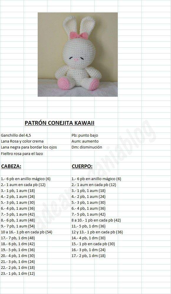 Crocheting In Spanish : Amigurumi Kawaii Bunny - FREE Crochet Pattern / Tutorial in Spanish ...