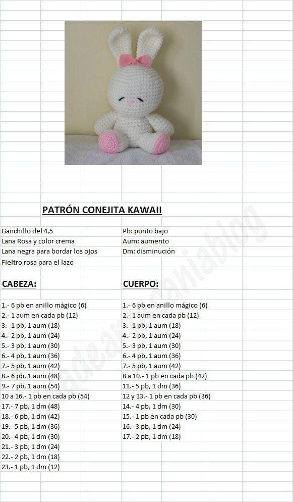 con A de artesanía: Patrón Conejita Kawaii | hračky | Pinterest ...
