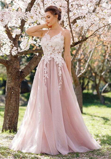 9ca6bfabefd81 Charming A-Line Round Neck Sleeveless Pink Tulle Long Prom Dress ...
