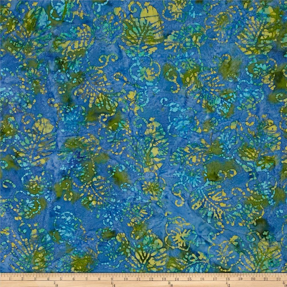 Indian Batik Jewel Box Leaf Blue/Green #birdfabric