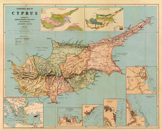 Cyprus Map Historic Map Of Cyprus Old Map Restored Fine Print