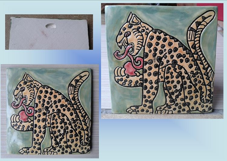 Decorative Tile Wall Art Mayan Jaguar Tile Yellow Gold Black Green Ceramic Decorative Tile
