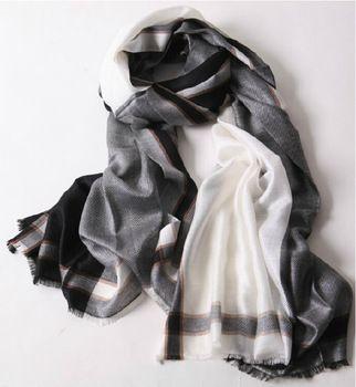 Оригинал одного торговли унисекс четыре границы шарфы оптовая продажа / длинный бархат шарф платок двойной фабрики оптовая продажа