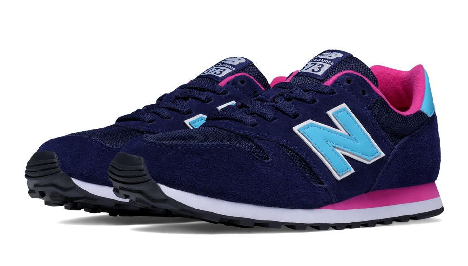 new balance 373 navy with black and pink